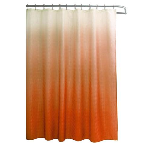 Shower Curtains Orange Creative Home Ideas Ombre Waffle Weave 70 In W X 72 In L Shower Curtain With Metal Roller