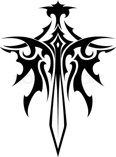 winged sharp sword tribal style for fantasy and tattoo