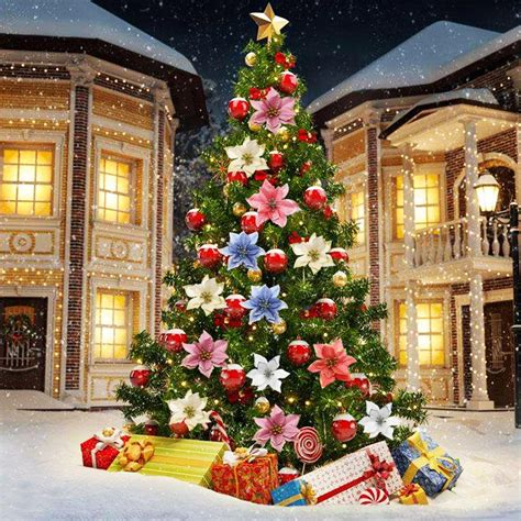 wwwhouston garden center xmas tree sale 10pcs glitter poinsettia tree ornaments artificial tree