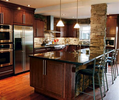 Arts And Crafts Style Kitchen Cabinets dark cherry cabinets in casual kitchen kitchen craft