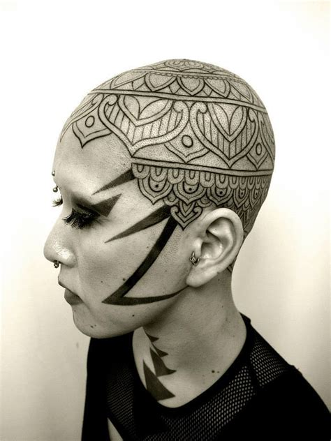 lightning mandala head tattoo design best tattoo ideas