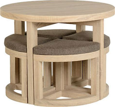 Stowaway Dining Table Cambourne Stowaway Dining Set Table With 4 Brown Fabric Chairs Oak Foil Veneer Ebay