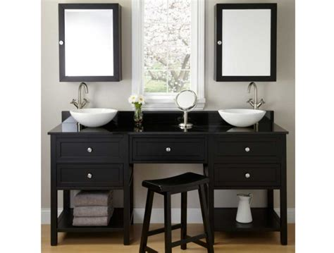 bathroom vanity with makeup counter in black finish