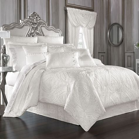 comforter white bianco puff jacquard solid white comforter bedding by j