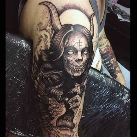 evil woman tattoo designs horror of a with horns http