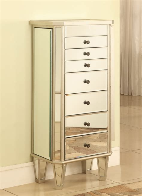 Silver Jewelry Armoire by Powell Mirrored Jewelry Armoire With Silver Wood