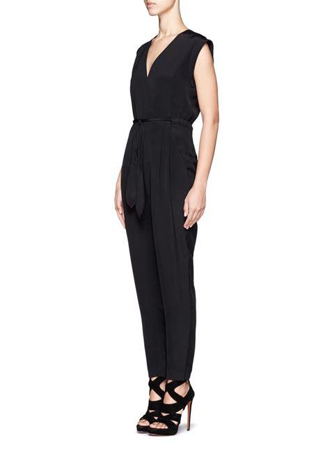Silk Jumpsuit lyst theory wrap neck silk jumpsuit in black