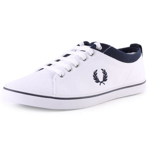 fred perry hallam twill mens canvas white navy trainers