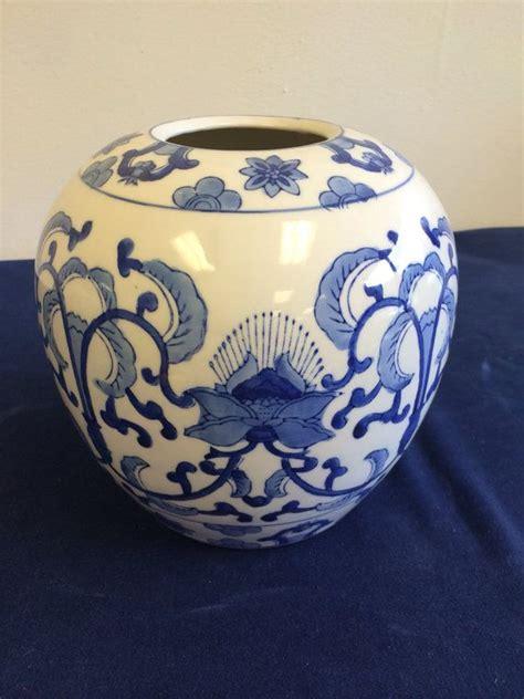 Antique Vintage Style Blue White Ornate Vase Jar Floral Stripe Farm New 26cm 10 Quot Vintage Blue And White Jar Vase Chinoiserie Style