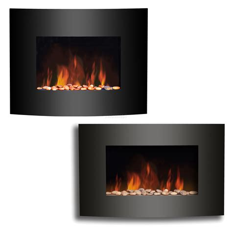 Wall Mounted Electric Fireplace Heater Wall Mounted Electric Fireplace Black Curved Glass Heater Effect Plasma Ebay