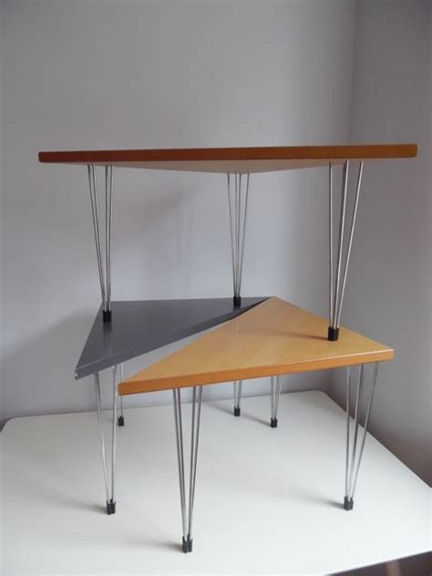 set of three end tables set of three scandinavian design triangle tables end