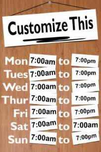 store hours sign template free sign to display store or restaurant hours makesigns