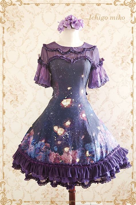 Loly Dress ichigomiko purple delusion bamboo joint printed loilta