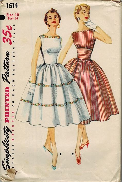 vintage pattern simplicity simplicity 1614 50s bateau neckline dress with full skirt