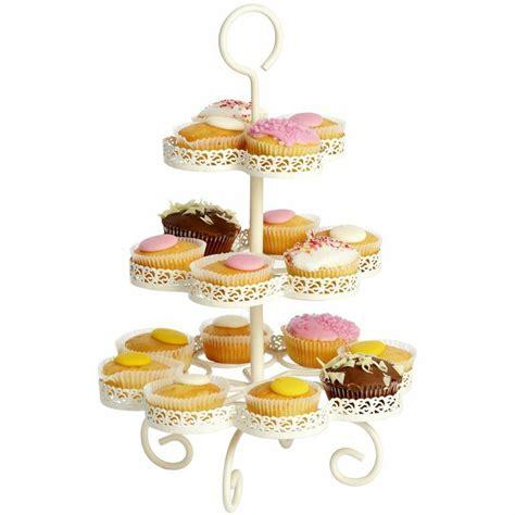 Cupcake Stand Rak Cupcake 3 Tier Edisi Birthday T45 L30 metal cupcake stand vonshef 3 tier cake serving stand tray to display cakes cupcakes cookies