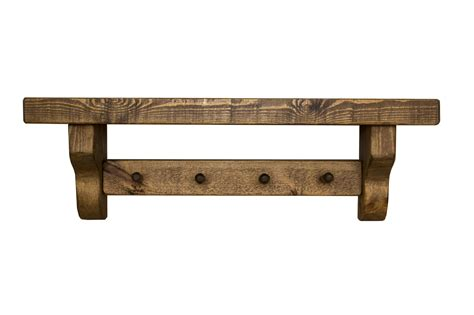 wooden selves rustic wooden shelf with coat pegs