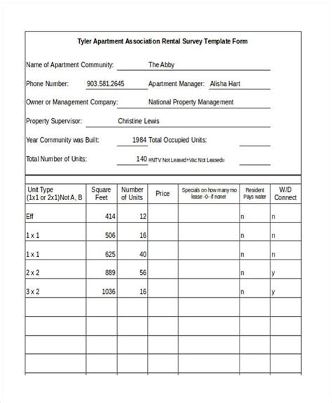 21 Survey Forms In Excel Apartment Leasing Market Survey Template