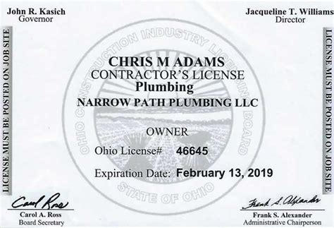 Ohio Plumbing License by Licensed Plumbing Contractor Xenia Oh Narrow Path