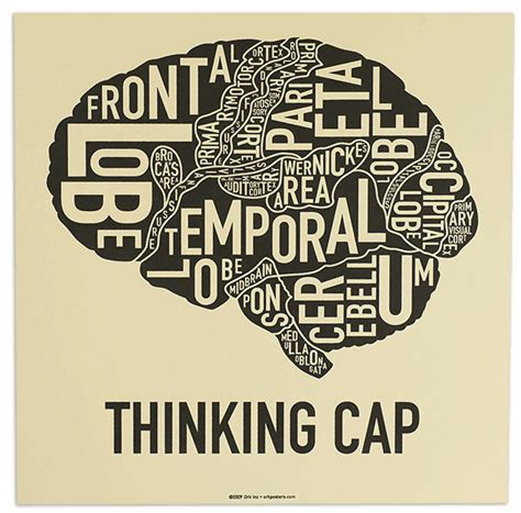 printable think poster thinking cap brain diagram poster from ork posters