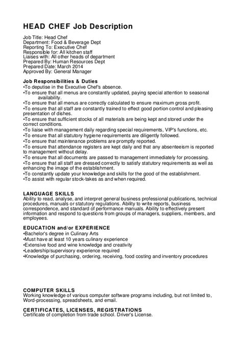 Resume Example Restaurant by Head Chef Job Description