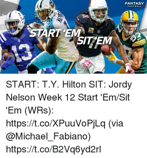 jordy nelson week 12 fantasy football packers cardinals start ty hilton sit