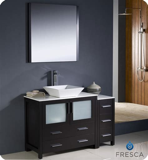 Bathroom Vanity With Side Cabinet Fresca Torino 48 Quot Espresso Modern Bathroom Vanity With Side Cabinet And Vessel Sink