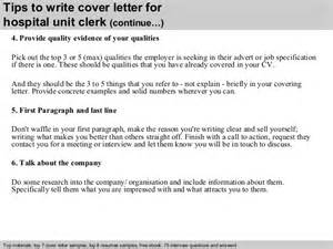 Reconsignment Clerk Cover Letter by Hospital Unit Clerk Cover Letter