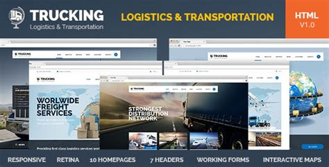 Trucking Transportation Logistics Html Template Site Templates Themeforest Truck Transport Website Templates Free