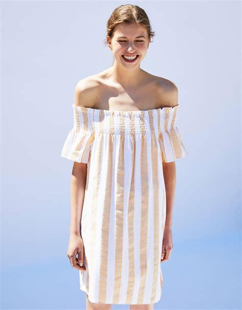 Glr Dress Berska Stripe the shoulder striped dress dresses bershka macedonia