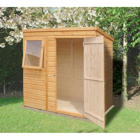 outdoor sheds shiplap pent garden shed 6ft x 4ft overlap with single door
