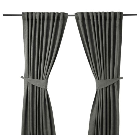 ikea curtain tie backs blekviva curtains with tie backs 1 pair grey 145x250 cm
