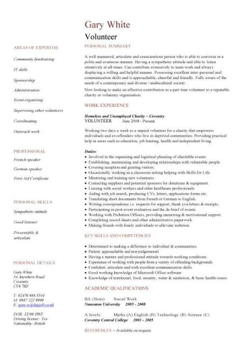 Volunteer Resume Sles by Resume Sles Volunteer Work 28 Images Sle Resume