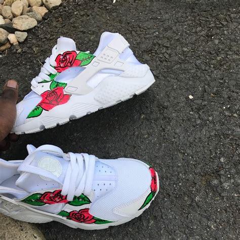 Custom Flower nike shoes custom white huarache flower roses customized