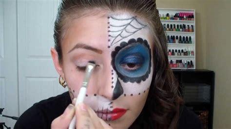 imagenes de uñas pintadas ala mitad mitad calavera para halloween youtube