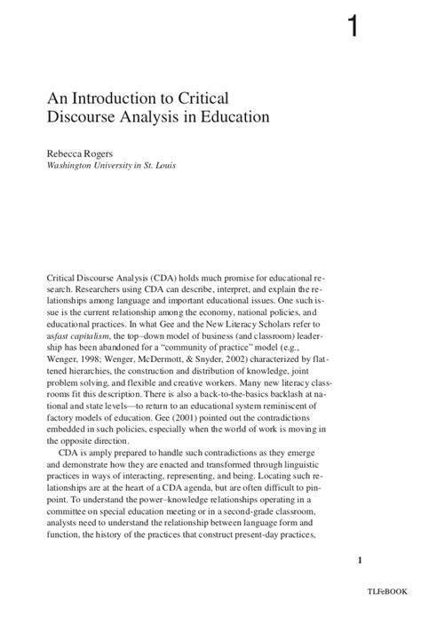 Critical Essay Introduction by An Introduction To Critical Discourse Analysis In Education New