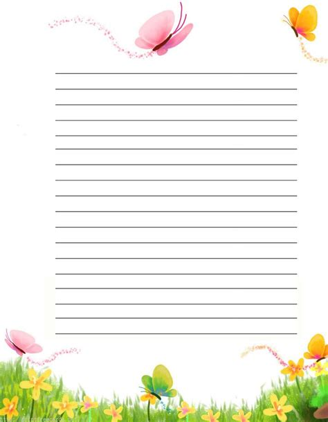 butterfly writing paper butterflies free printable stationery for primary