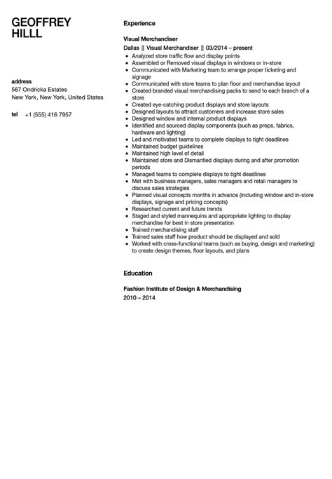 free sle resume for visual merchandiser visual merchandiser resume sle velvet