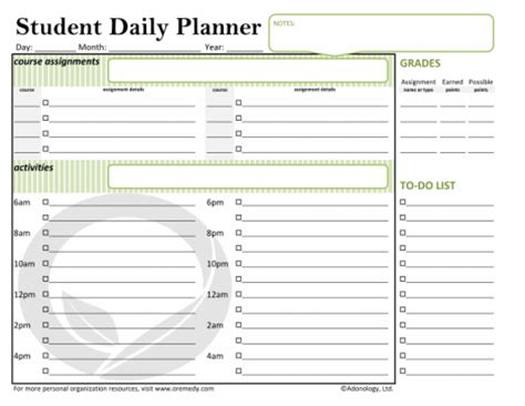 daily school planner template free printable daily organizer pages new calendar