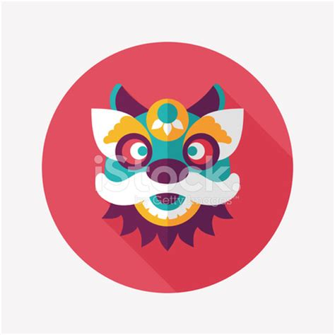 chinese dragon and lion dancing head flat icon,eps10 stock