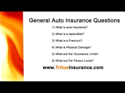 general insurance questions auto youtube