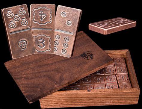 Handmade Dominos - handmade solid copper metal domino set in box dice