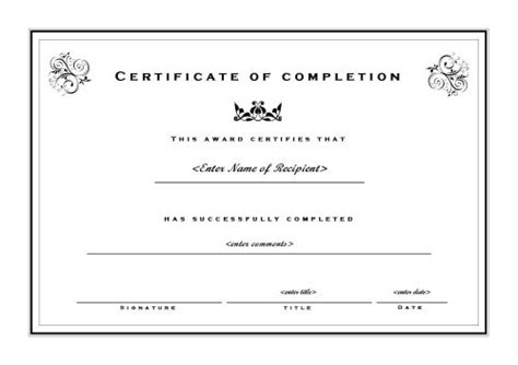 certificate of completion free template certificate of completion template free printable documents