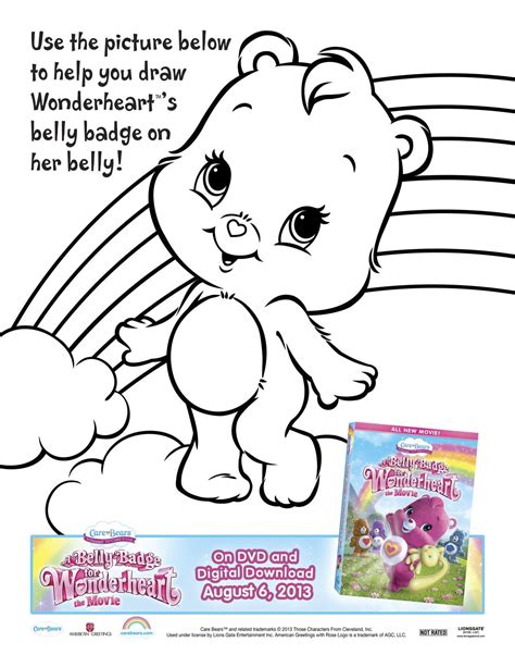 wonderheart bear coloring pages care bears a belly badge for wonderheart printable