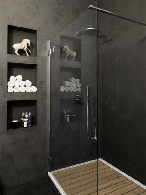 Shower Cubby Holes by Bathroom With Grey Walls Cubby Holes Between Studs And A Shower With Badkamer