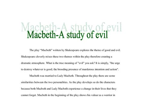 all of the following are themes of macbeth except macbeth a study of evil gcse english marked by