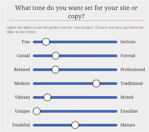 Survey Your Client To Establish The Correct Tone Of Voice For The Project Moving Forward Brand Voice Template