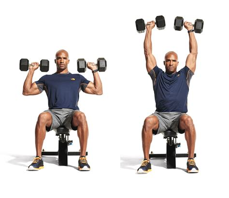 seated dumbbell bench press seated dumbbell overhead press men s fitness