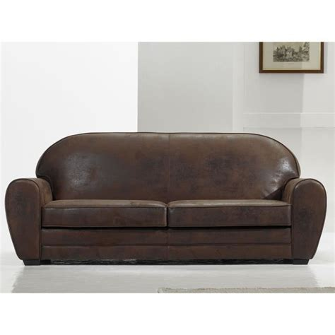 canape convertible retro canap 233 vintage 3 places coloris alaska marron achat