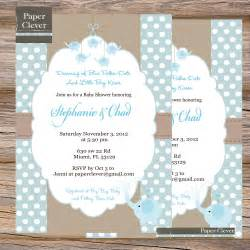 boys baby shower invitation blue taupe elephant by paperclever