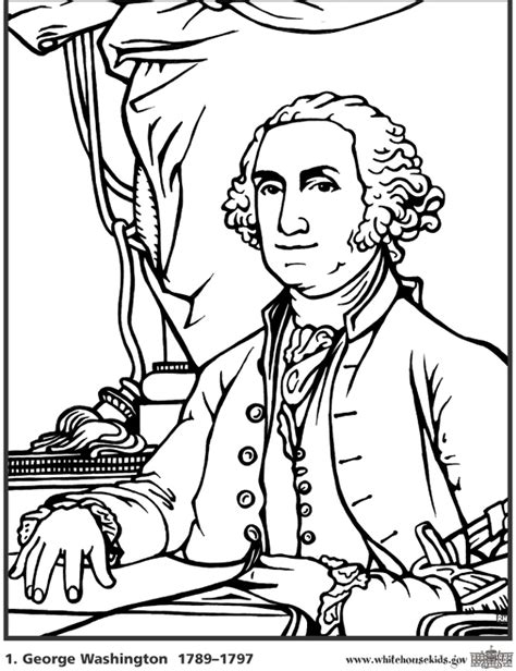 printable coloring pages us presidents coloring page george washington az coloring pages
